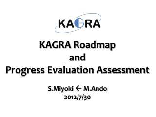 KAGRA Roadmap and  Progress Evaluation Assessment S.Miyoki   M.Ando 2012/7/30