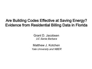 Are Building Codes Effective at Saving Energy? Evidence from Residential Billing Data in Florida