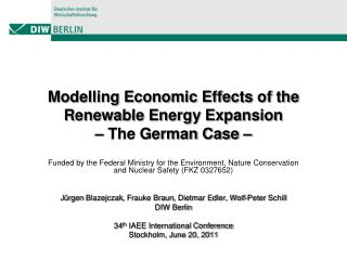 Modelling Economic Effects of the Renewable Energy Expansion –  The German Case –