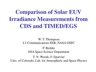 Comparison of Solar EUV Irradiance Measurements from CDS and TIMED/EGS