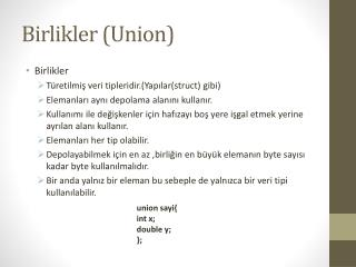 Birlikler ( Union )
