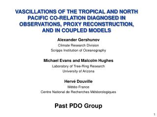 Alexander Gershunov  Climate Research Division Scripps Institution of Oceanography