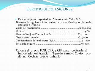 EJERCICIO DE COTIZACIONES
