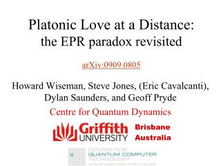 Platonic Love at a Distance: the EPR paradox revisited arXiv:0909.0805