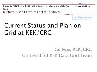 Current Status and Plan on Grid at KEK/CRC