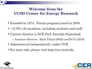 Welcome from the  UCSD Center for Energy Research