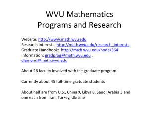 WVU Mathematics Programs and Research