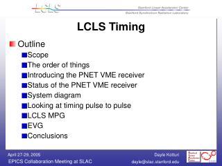 LCLS Timing