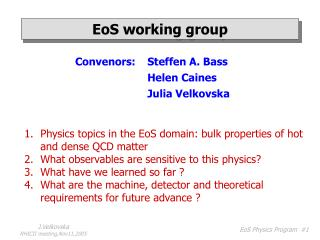EoS working group