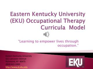 Eastern Kentucky University (EKU) Occupational Therapy Curricula  Model
