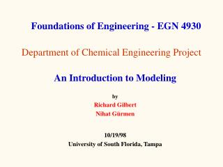 Department of Chemical Engineering Project