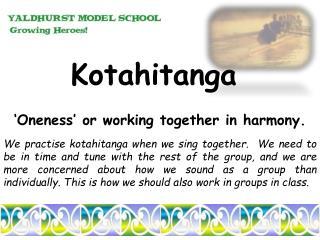 Kotahitanga 'Oneness'  or working together in  harmony.