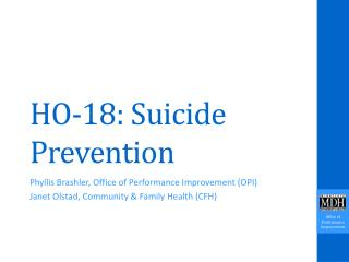 HO-18: Suicide Prevention