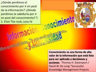 Informaci n, Conocimiento y Universidad