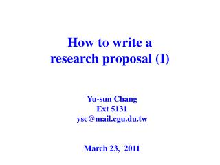 How to write a  research proposal (I)
