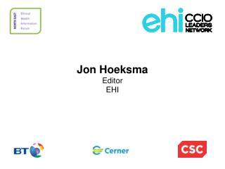Jon Hoeksma Editor EHI