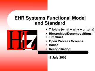 EHR Systems Functional Model and Standard
