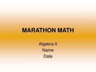 MARATHON MATH