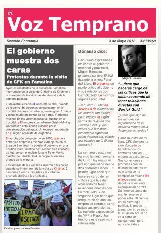 El gobierno muestra dos caras Protestas durante la visita de CFK en Famatina