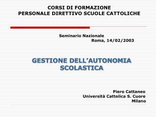 CORSI DI FORMAZIONE  PERSONALE DIRETTIVO SCUOLE CATTOLICHE