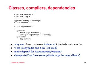 Classes, compilers, dependencies