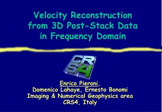 Velocity Reconstruction  from 3D Post-Stack Data  in Frequency Domain