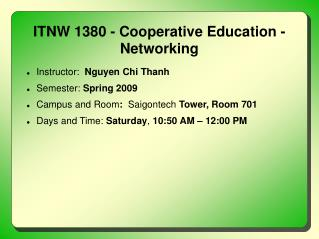 ITNW 1380 - Cooperative Education - Networking