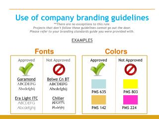 Use of company branding guidelines