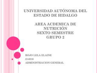 UNIVERSIDAD AUTÓNOMA DEL ESTADO DE HIDALGO AREA ACDEMICA DE NUTRICIÓN  SEXTO SEMESTRE  GRUPO 2