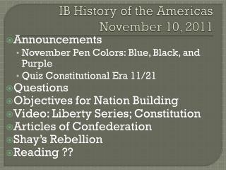 IB History of the Americas November  10,  2011