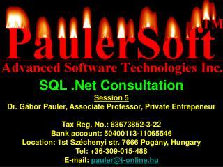 SQL .Net Consultation Session 5 Dr. G�bor Pauler, Associate Professor, Private Entrepeneur