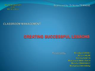 CREATING SUCCESSFUL LESSONS