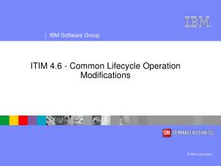ITIM 4.6 - Common  Lifecycle Operation Modifications