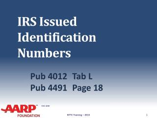 IRS Issued Identification Numbers