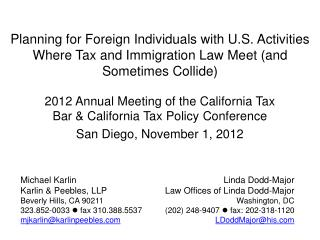 2012  Annual Meeting of the California Tax Bar & California Tax Policy  Conference