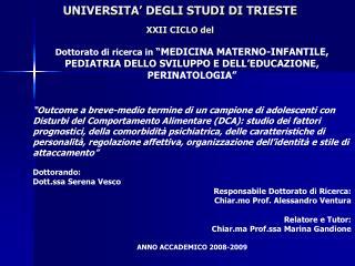 UNIVERSITA  DEGLI STUDI DI TRIESTE  XXII CICLO del