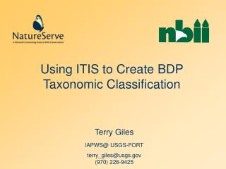 Using ITIS to Create BDP Taxonomic Classification