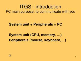 ITGS - introduction