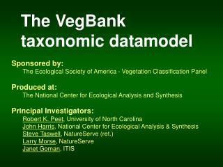 The VegBank  taxonomic datamodel