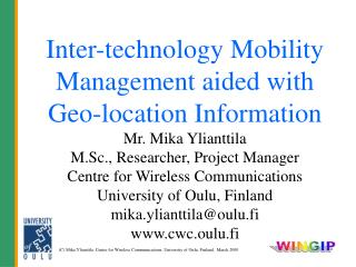 Inter-technology Mobility  Management aided with  Geo-location Information