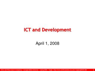 ICT and Development