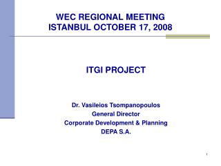 WEC REGIONAL MEETING ISTANBUL OCTOBER 17, 2008
