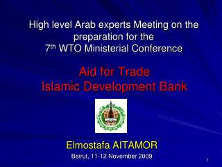 High level Arab experts Meeting on the preparation for the  7 th  WTO Ministerial Conference