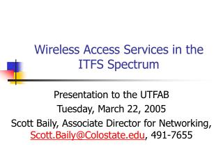 Wireless Access Services in the ITFS Spectrum