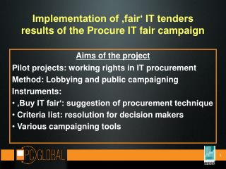 Implementation of 'fair' IT tenders results of the Procure IT fair campaign