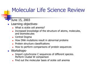 Molecular Life Science Review
