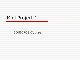 Mini Project 1