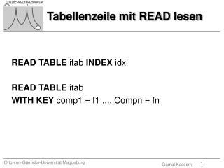 Tabellenzeile mit READ lesen