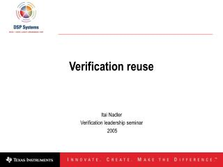 Verification reuse