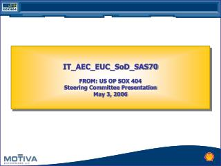 IT_AEC_EUC_SoD_SAS70 FROM: US OP SOX 404 Steering Committee Presentation  May 3, 2006